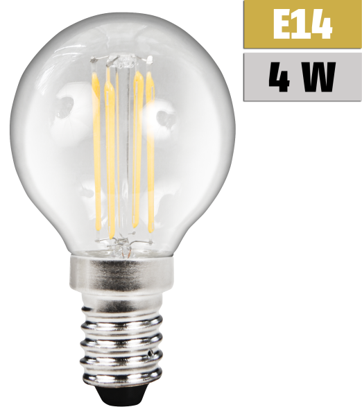 "LED Filament Tropfenlampe McShine ""Filed"", E14, 4W, 380 lm, warmweiß"